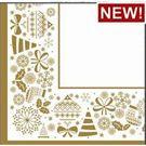 Салфетки 3сл 33х33см Bouquet Home Collection Новогодняя скатерть Золото на белом 20шт (12)