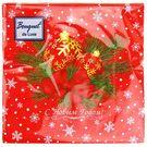 Салфетки 3сл 24х24см Bouquet de luxe Новогодние шары на красном 25шт (15)
