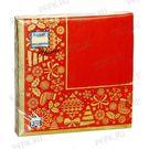 Салфетки 3сл 24х24см Bouquet de luxe Новогодняя скатерть Золото на красном 25шт (15)