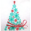 Салфетки бум.белые 1сл 24х24 Ёлка зелёная с красной лентой НГ 90л (30пачек/уп)